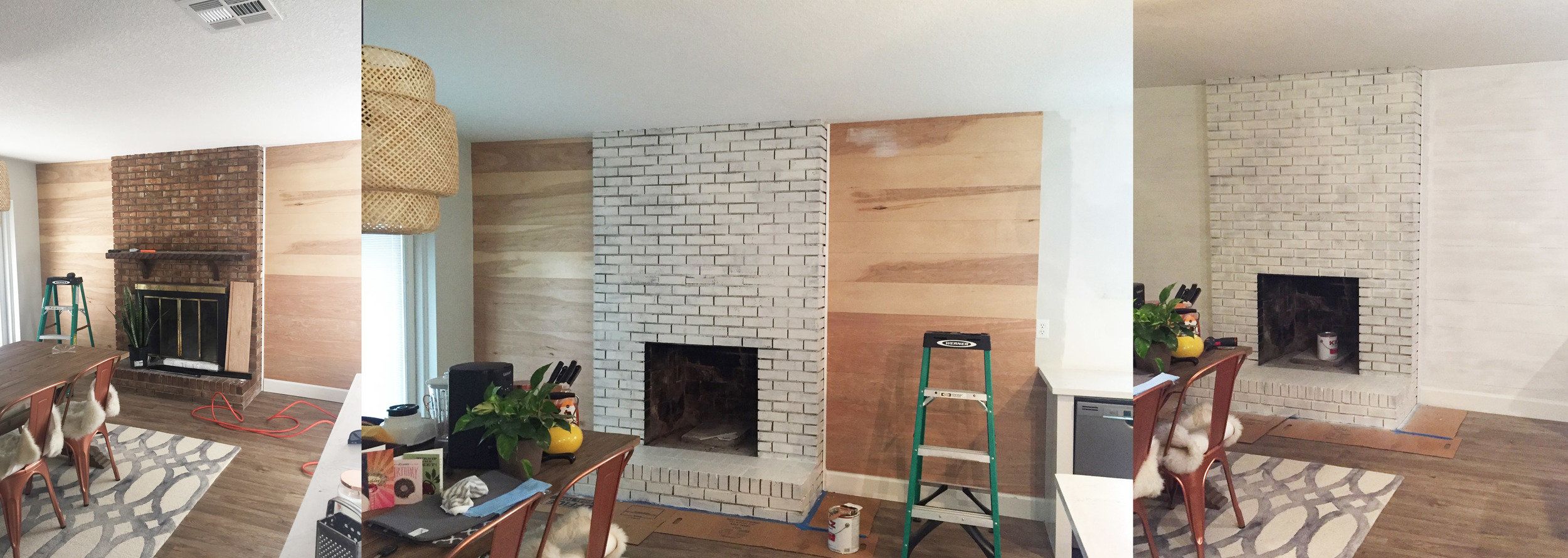 Before | One Coat of Primer on Fireplace | First Coat on Everything