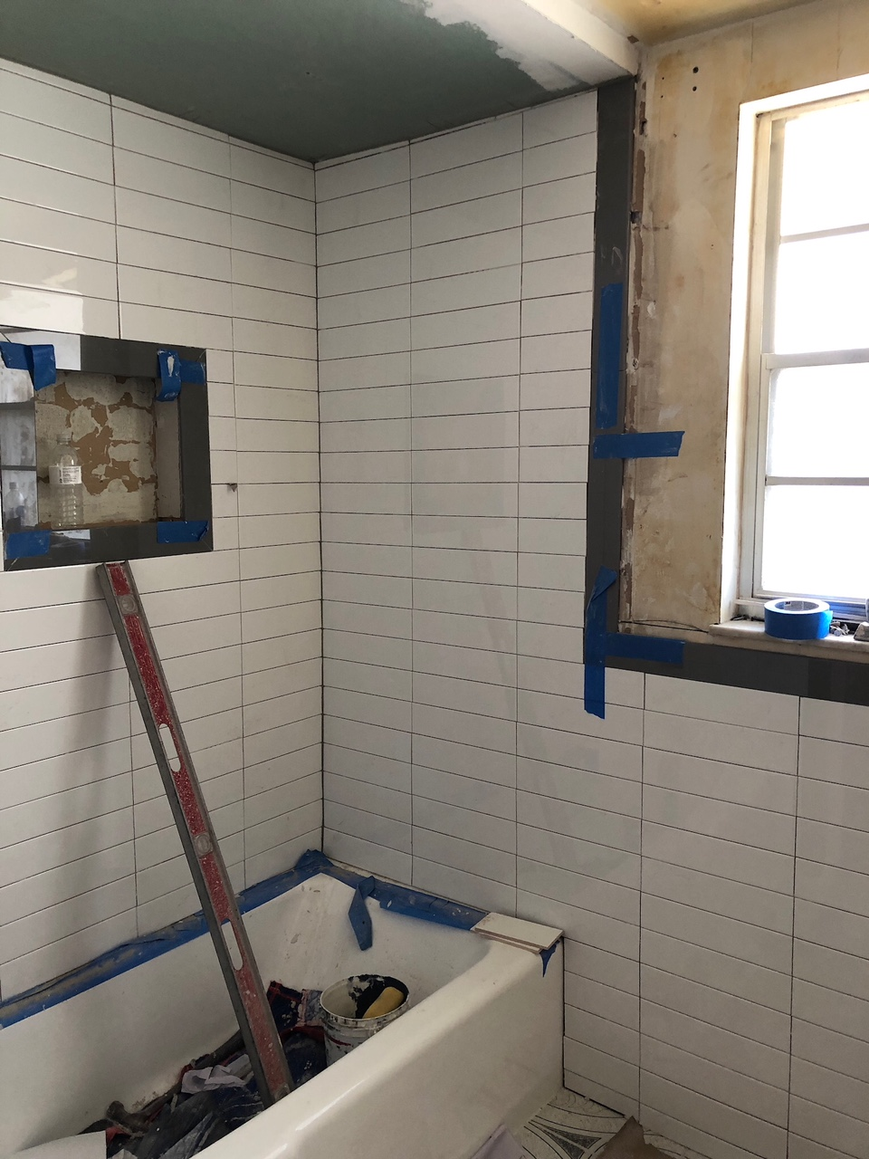 stacked subway tile niche