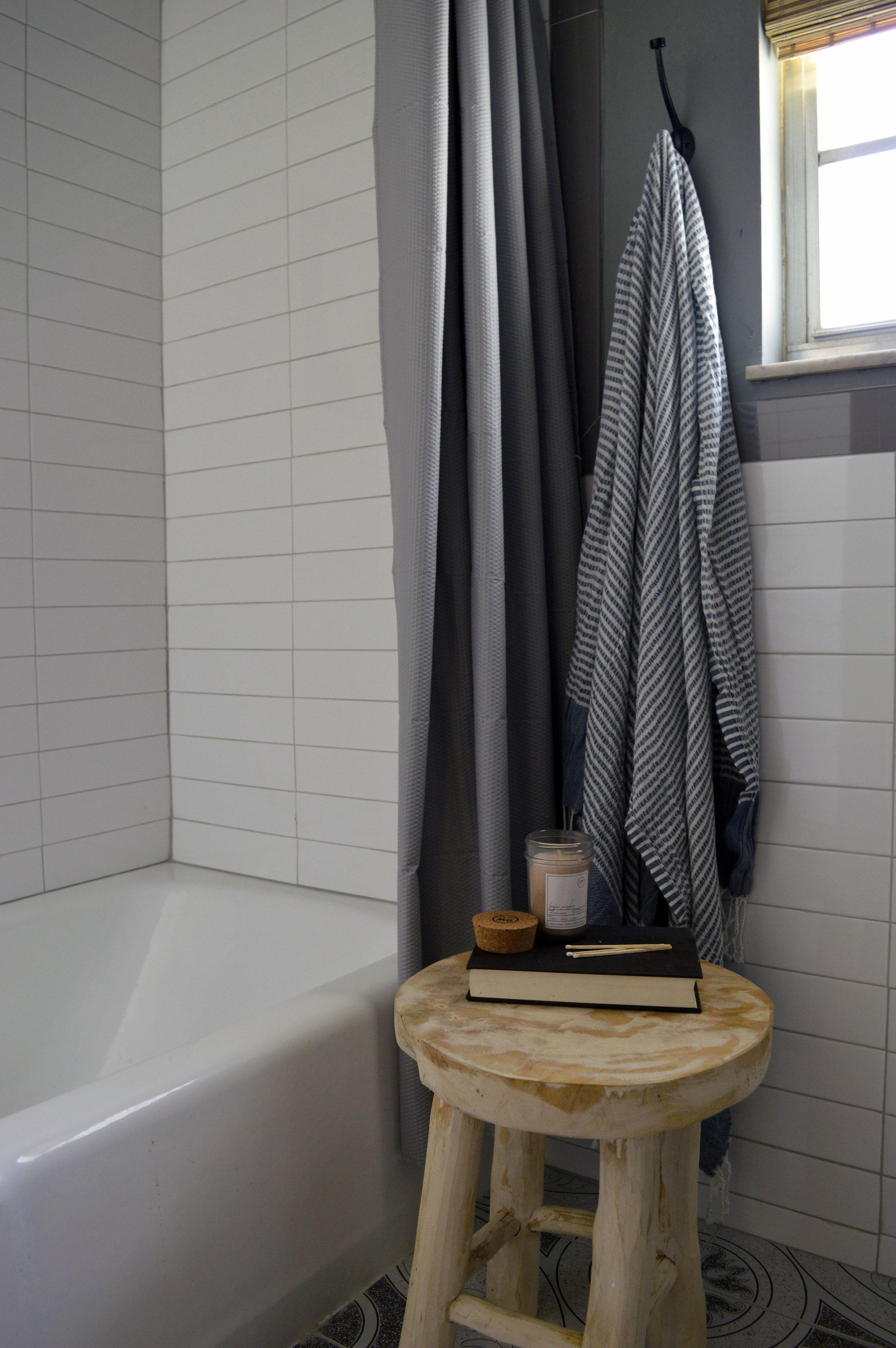 Stool next to bathtub