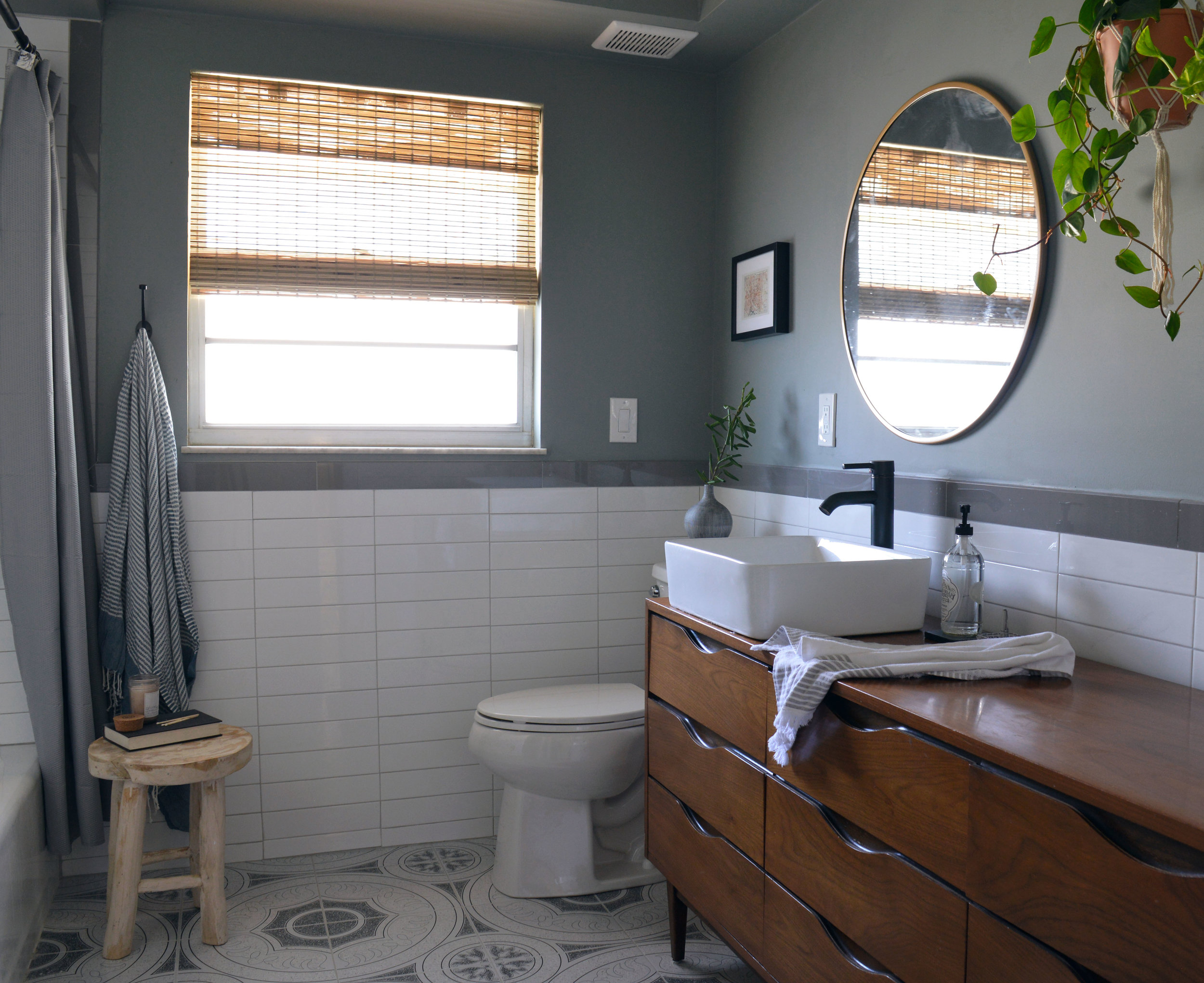 Bathroom Renovation with hanging planters