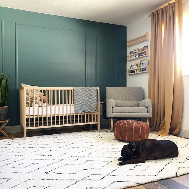 The current baby sleeping in the nursery! 🐾This room isn't quiteee done, but it's close! I love hanging out in here drinking coffee, and the girls love laying on this super comfy rug. I'm officially in my 3rd trimester now so things are gettin' real over here! #studiogaspo #babygaspo #nurserydesign #smmakelifebeautiful #currenthomeview #orlandointeriordesign #homesweethome #nursery #nurseryinspo #nurserydecor #bohonursery