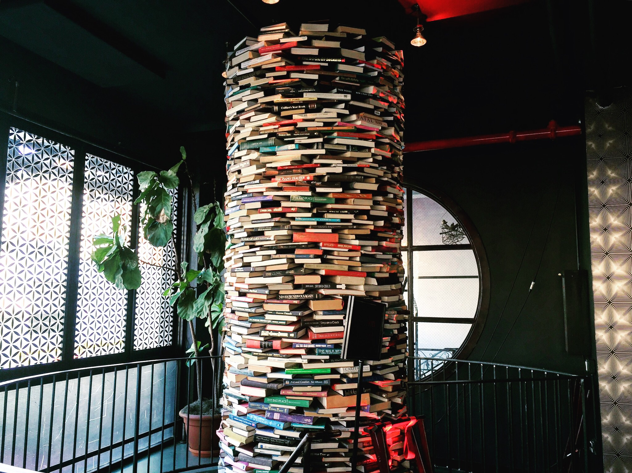 Loved this cascading column of books. Inspired by Jenga, perhaps.
