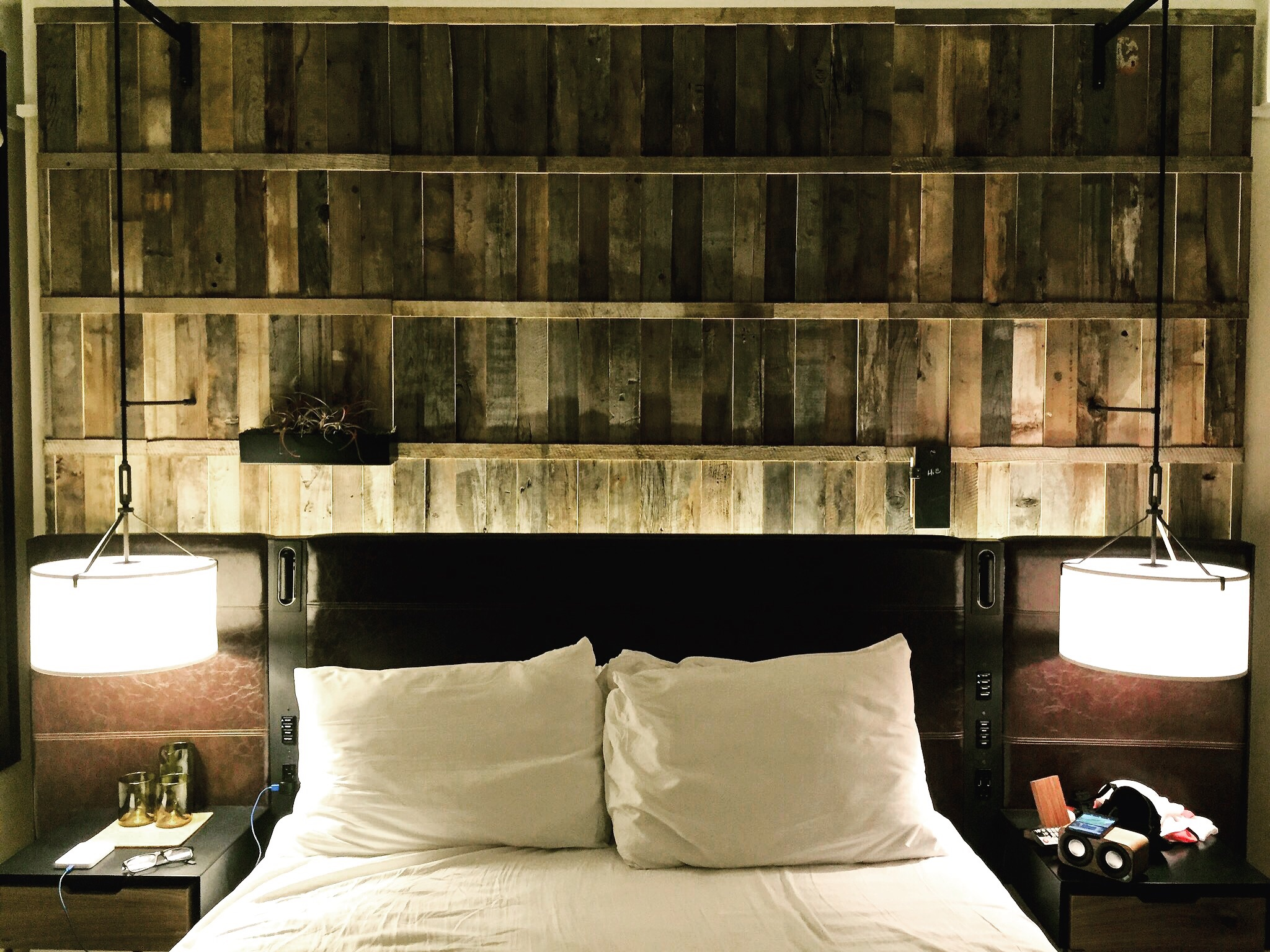 Hemp-blend mattresses, organic cotton sheets and reclaimed wood made it feel like I was sleeping in a treehouse, only better. :)