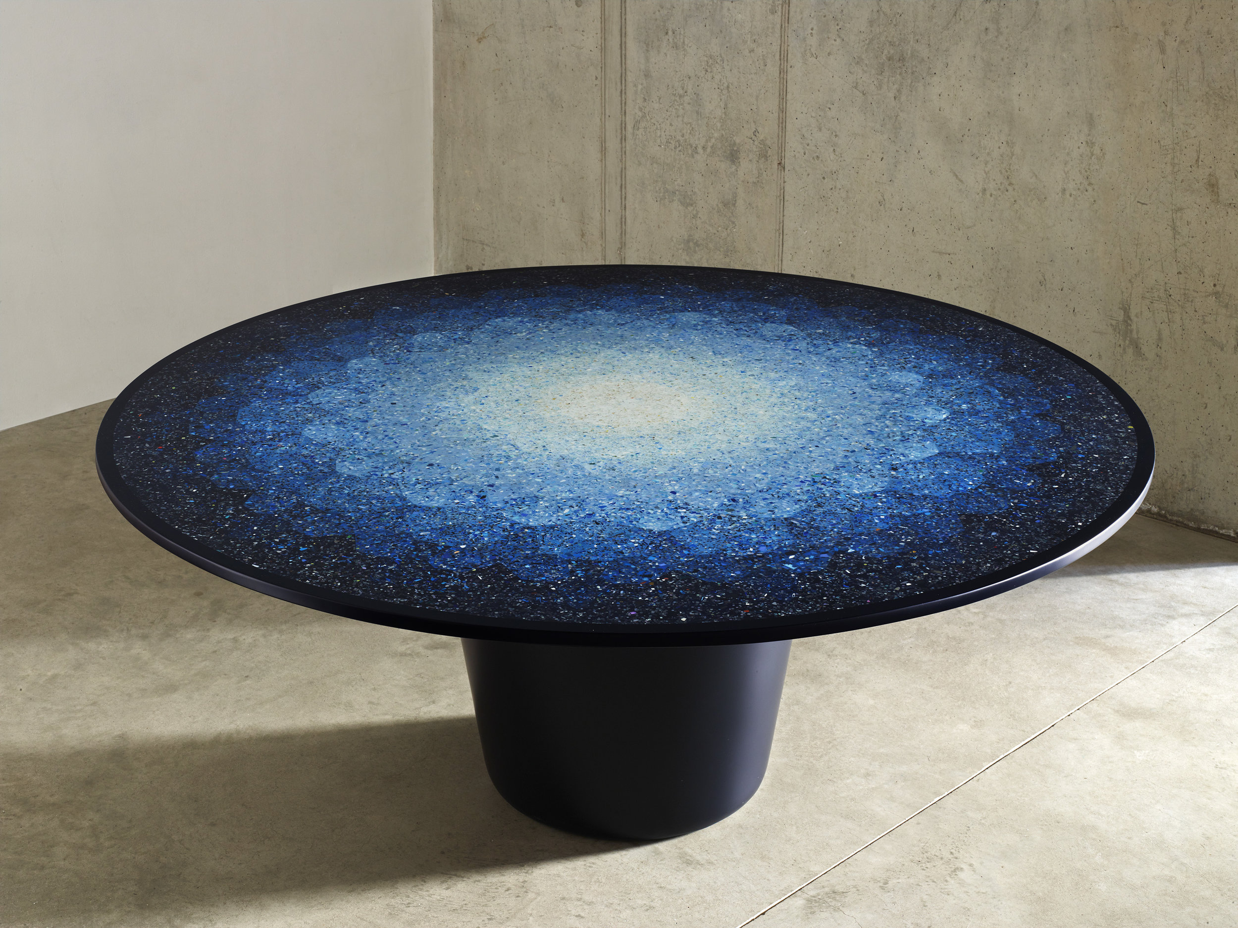 Gyro Table, made out of ocean plastic by Brodie Neil - a souvenir of humanity's neglect for the environment