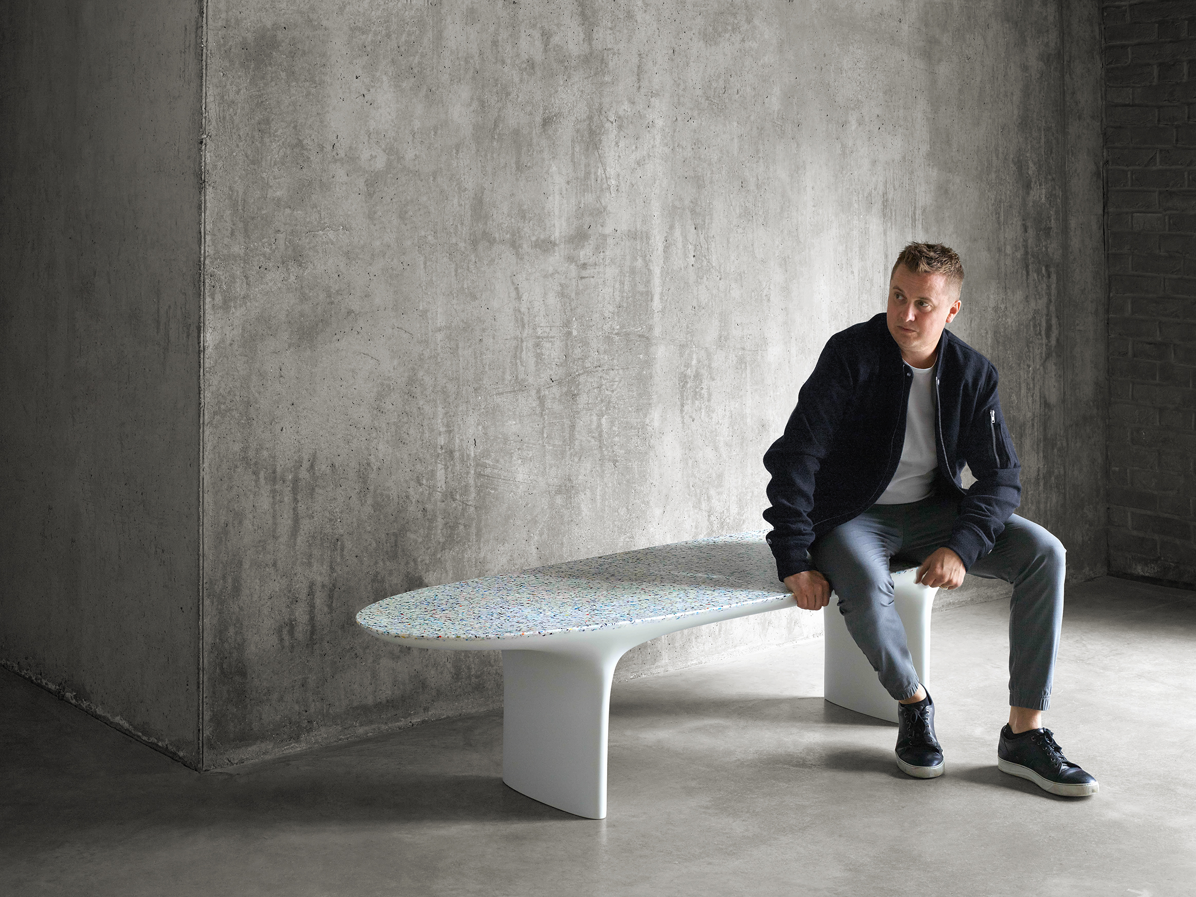 Flotsam Bench, made from ocean plastic, and the designer Brodie Neil