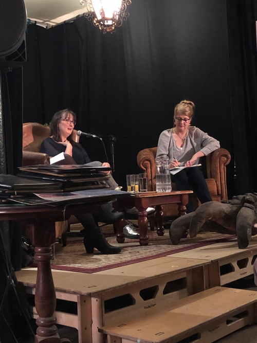 Jenny Savill sharing her agenting wisdom- with me taking notes and ignoring the giant claw by my feet. No prospective authors were eaten during the course of this salon.