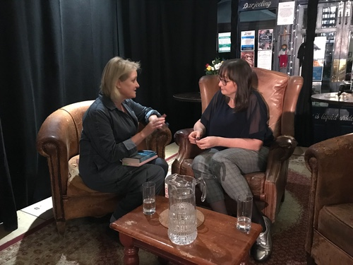 Jenny Savill (right) chatting with Lucy Van Smit