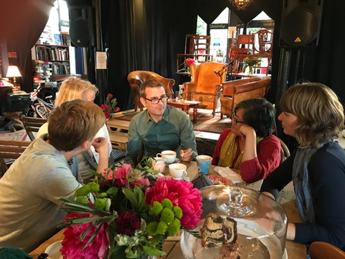 Chatting before the salon - children's writers Cath Howe, Lucy Van Smit, Peter Bunzl, Candy Gourlay and Camilla Chester