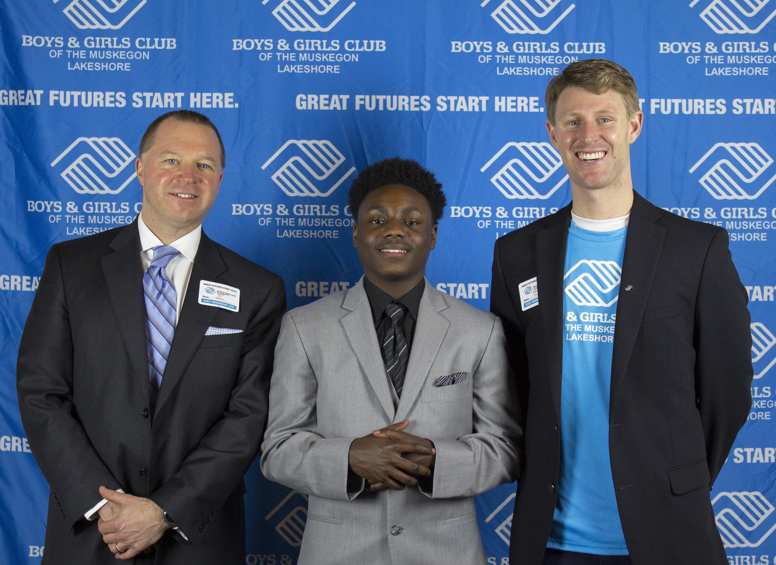 BGCML Board President and Muskegon County Prosecutor-DJ Hilson, 2017 YOY Winner-Antonio Thomas, and BGCML CPO-Dakota Crow