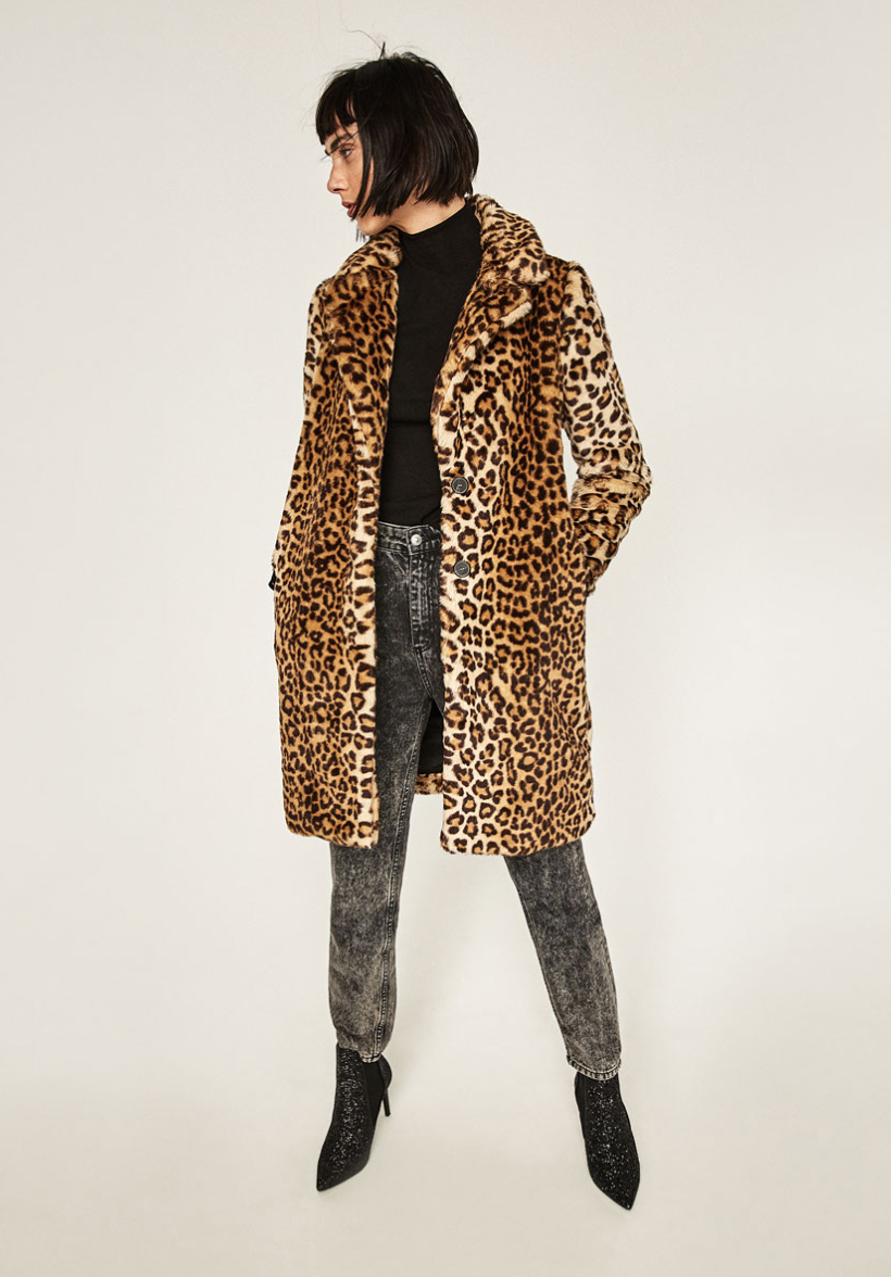 Zara Faux Fur Leopard Coat