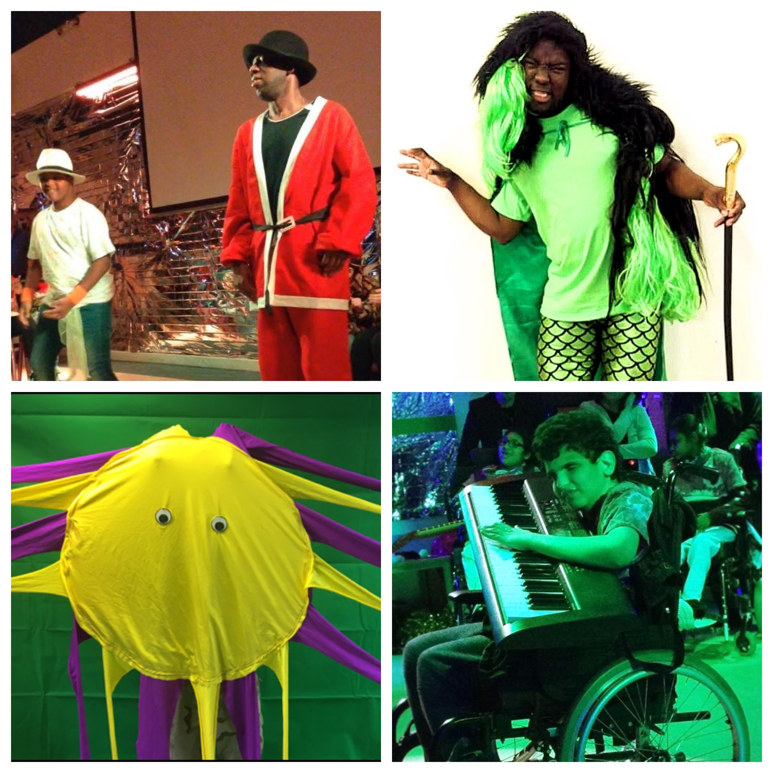 [description] A collage of 4 pictures. Top Left: Delson as Santa and a student from Jack Tizard School performing a duet, Top Right: Francis dressed as the Grinch in shiny green mermaid leggings, a long shaggy green and black wig and a cane pulling a monster face, Bottom Left: The Octa Decca Pus prop/character which is a lycra yellow face with googley eyes and purple and yellow strechy legs, Bottom Right: A student from Jack Tizard performing as a member of 'The Who' playing a huge keyboard close to his face in his wheelchair lit beautifully with green lights.