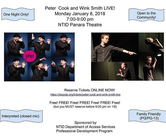 Peter Cook and I will be at NTID live! Tickets are FREE, but you must reserve your tickets at https://daspdp.org/tickets/peter-cook-and-wink-smith-live