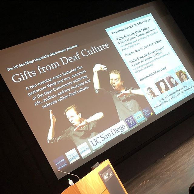 So excited to be back in San Diego! Show tonight and panel tomorrow night :) https://sites.google.com/ucsd.edu/gifts-from-the-deaf-culture/home