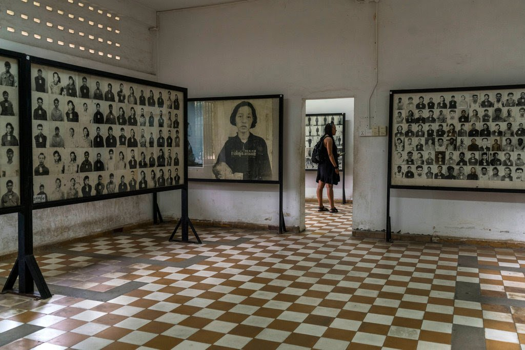 Photographs of victims of the Khmer Rouge at the Tuol Sleng Genocide Museum