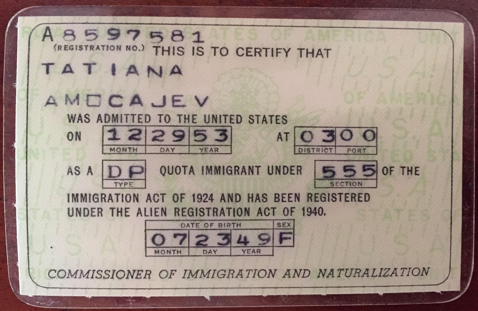 My green card.
