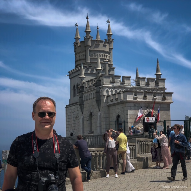 Our amazing host and distant cousin, Igor Amochaev, at the Swallow's Nest castle near Yalta. He does all the driving on these incredible tortuous roads, and still entertains us with a wry humor over meals gently warmed by Russian vodka.