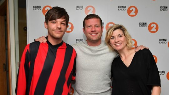 Louis Tomlinson, Dermot O'Leary, and Jodie Whittaker