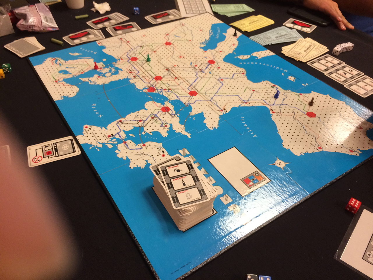 First game on the table: Eurorail. Unfinished, but I was the acknowledged winner.
