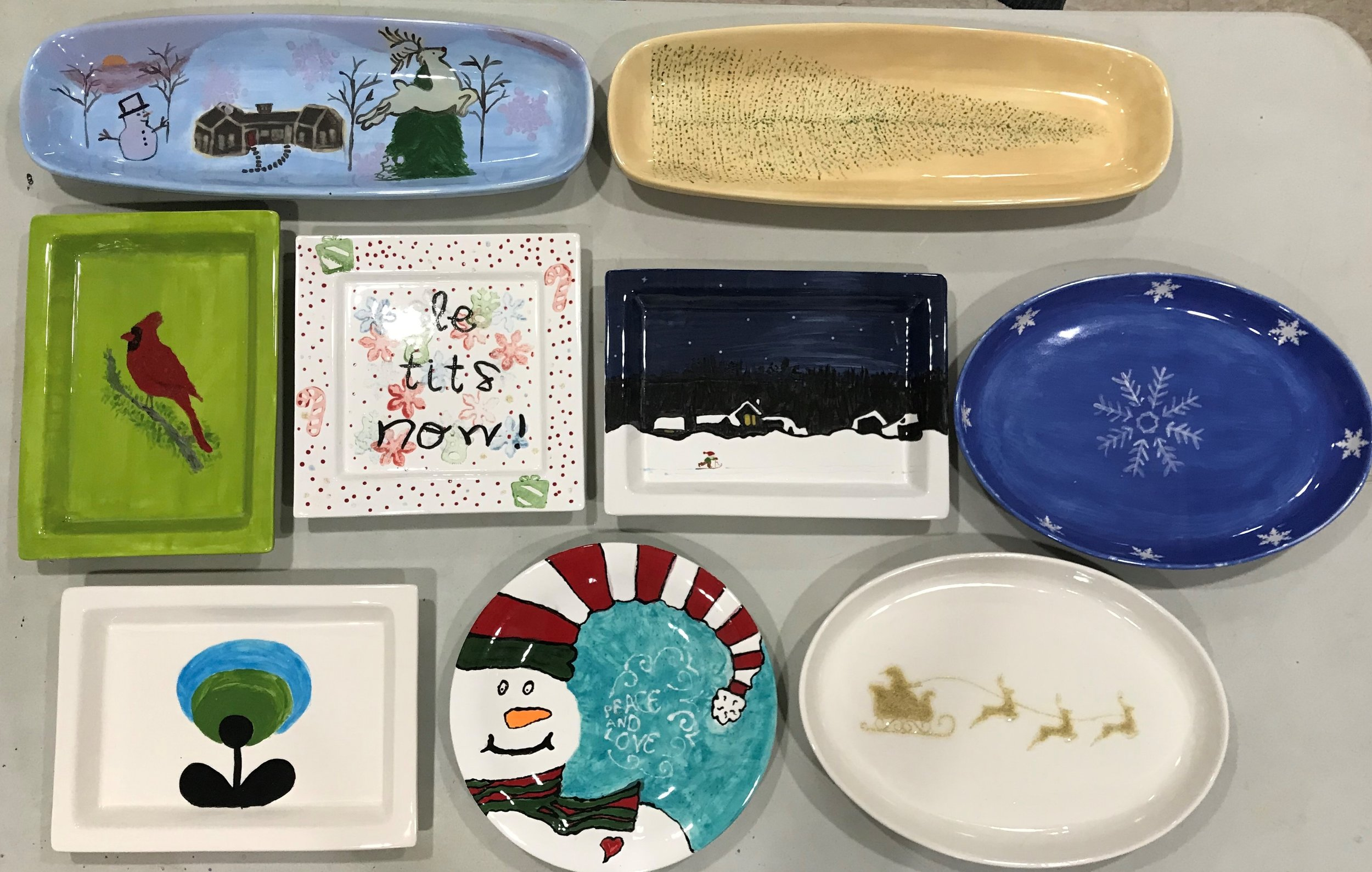 Some of the plates and platters made at last year's workshop. Aren't they fabulous!!??