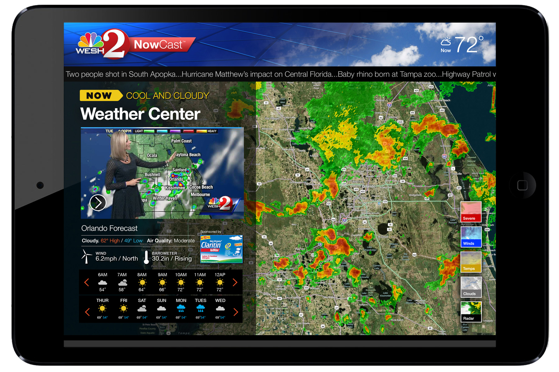Weather Center    module streams current weather report video with real-time interactive satellite view.