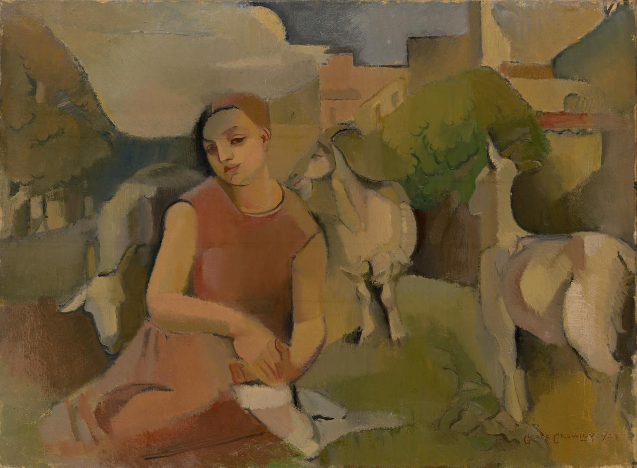 Girl with goats - Grace Crowley - 1928