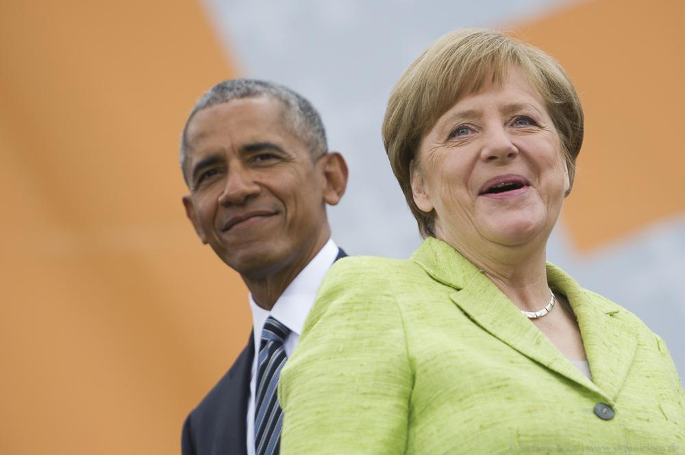 Barack Obama und Angela Merkel beim Kirchentag
