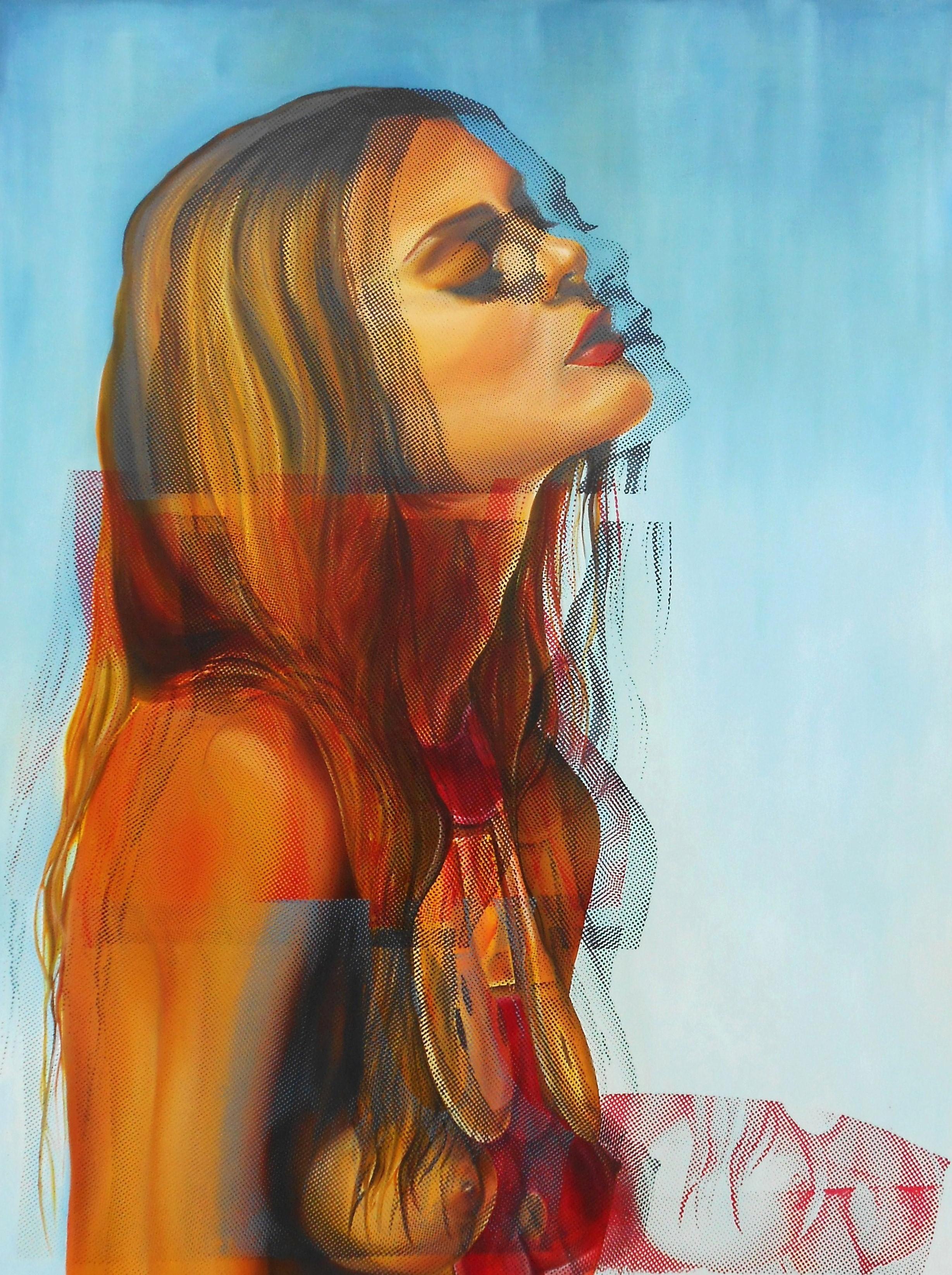 Metamorphosis of the Girl Next Door, oil and silk screen on canvas, 150 x 200cm.  Prints.