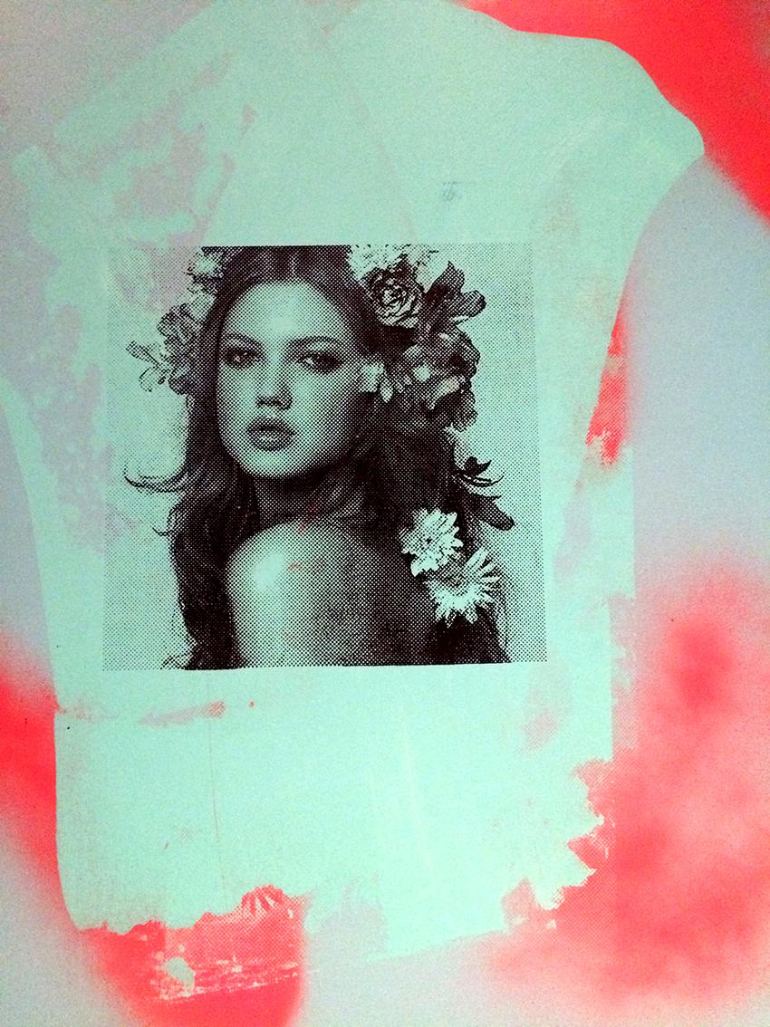 Love is a Lie, spray paint, acrylic and silk screen on canvas, 70 x 90 cm