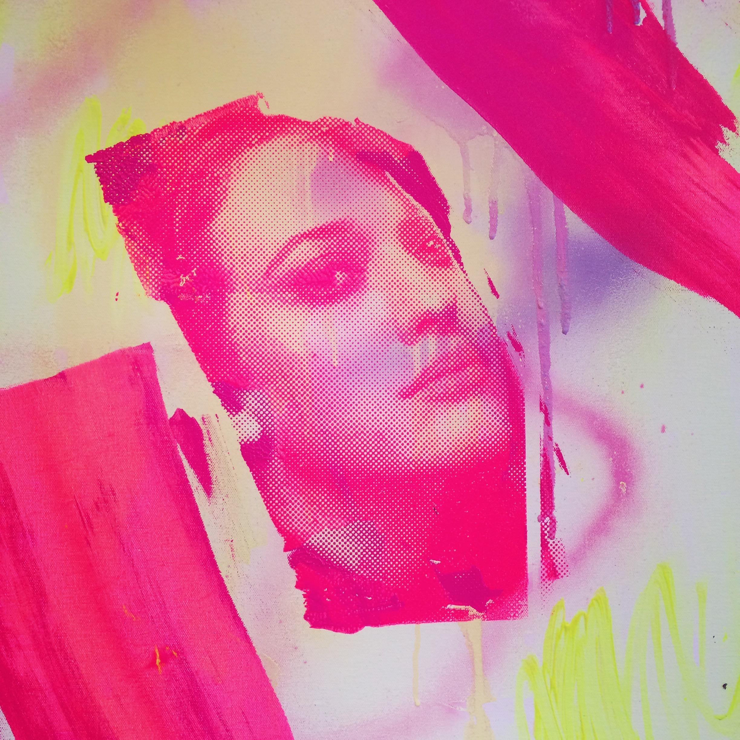 Fash-on, Fash-off, spray paint, acyrlic and silk screen on canvas, 70 x 90 cm