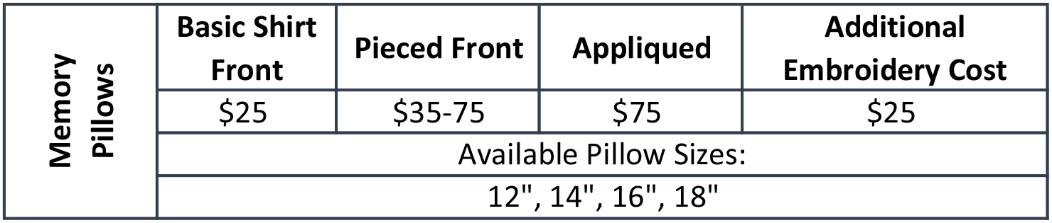 Pricing, Memory Pillow.jpg