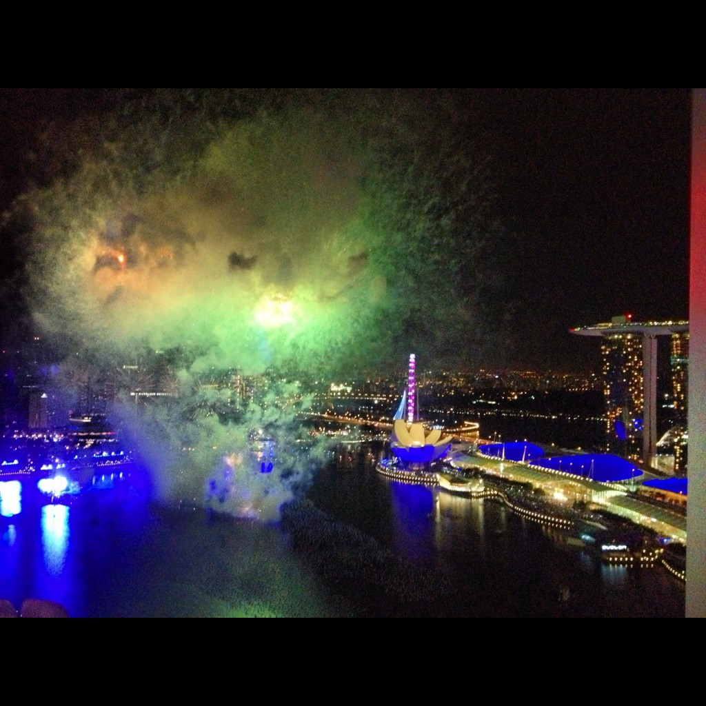 "View from the terrace in the apartment building called ""The Sail"" on Dec 31, 2012. There are worse ways to celebrate New Years Eve (See Marina Bay Sands on right)"