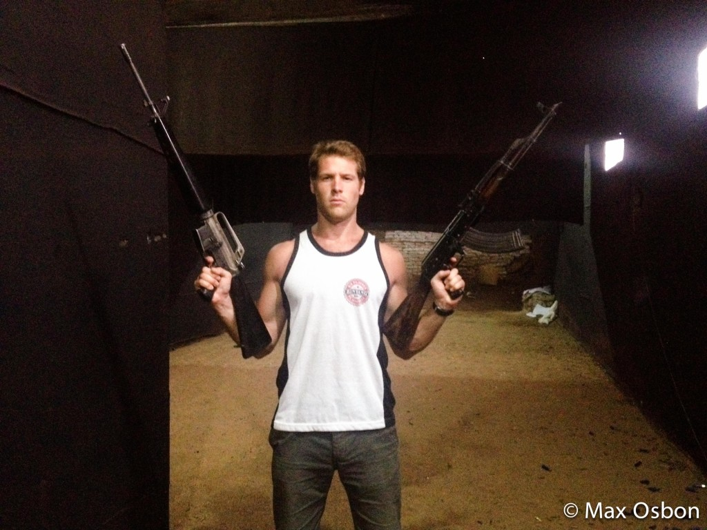 No smiling allowed on the Cambodian Gun Range.