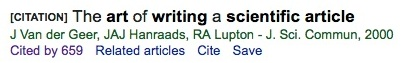 """Screenshot from Google Scholar for """"The Art of Writing a Scientific Article."""""""