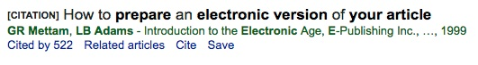 "Screenshot from Google Scholar for ""How to prepare an electronic version of your article."""