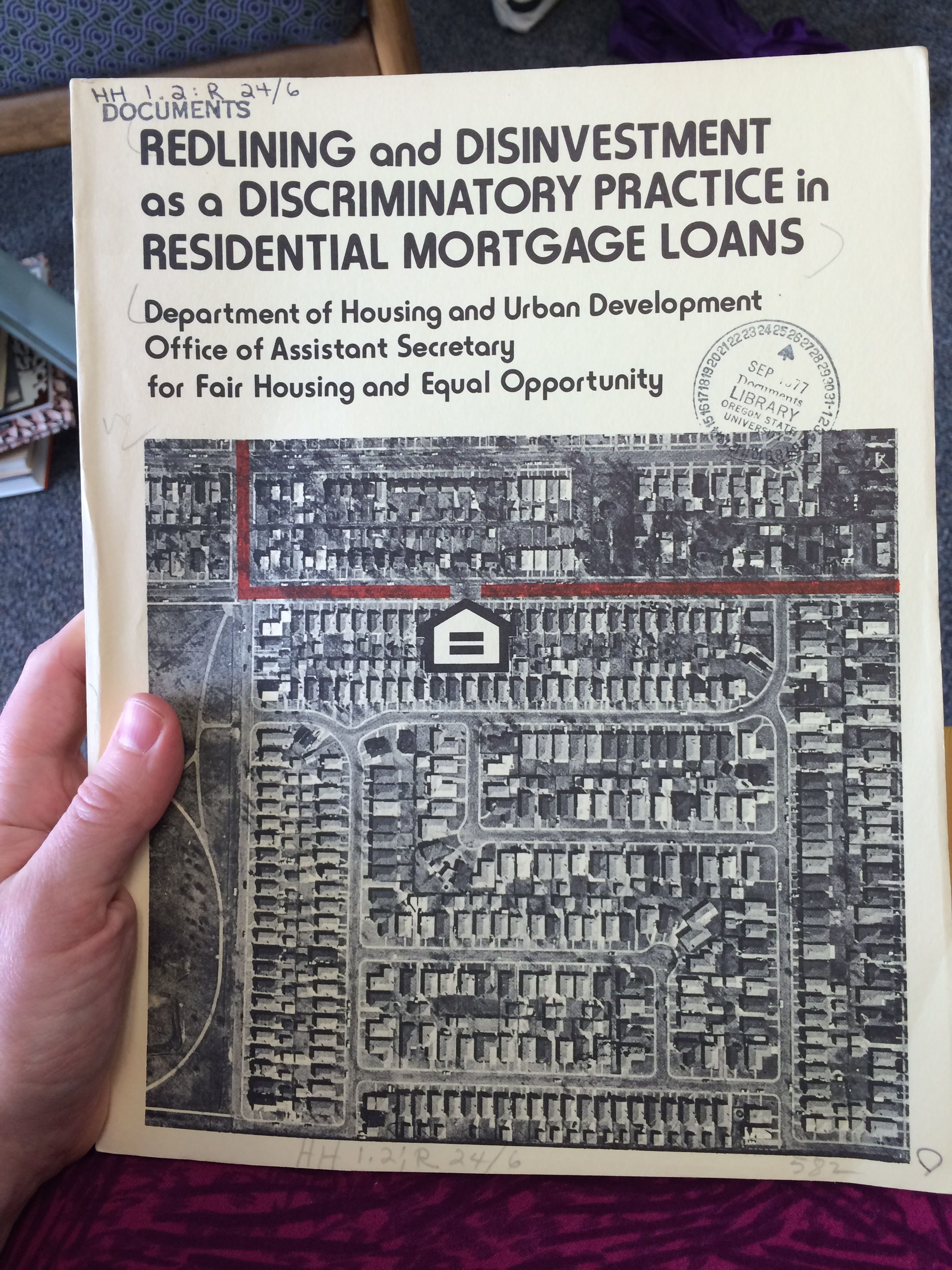 Gov docs for the win -- 1977 HUD report on redlining and disinvestment as a discriminatory practice