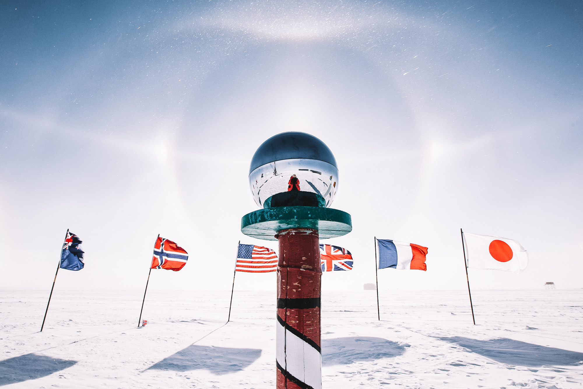 geographic south pole - Tread where few have done before by reaching the planet's lowest point and intersection of Earth's axis of rotation. The Amundsen-Scott scientific base is the only permanent human structure in this extreme and isolated region of Antarctica.