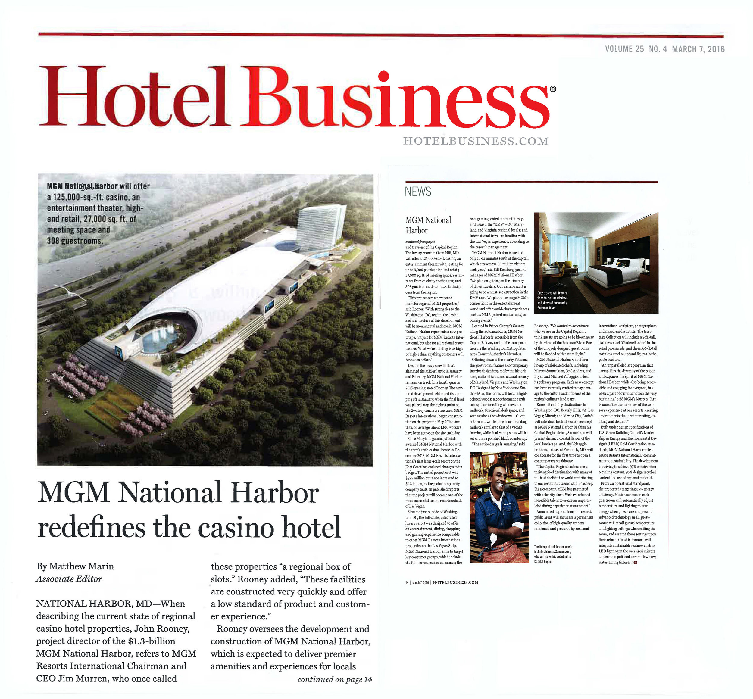 MGM National Harbor announced in Hotel Business - Credit: Hotel Business, March 2016.