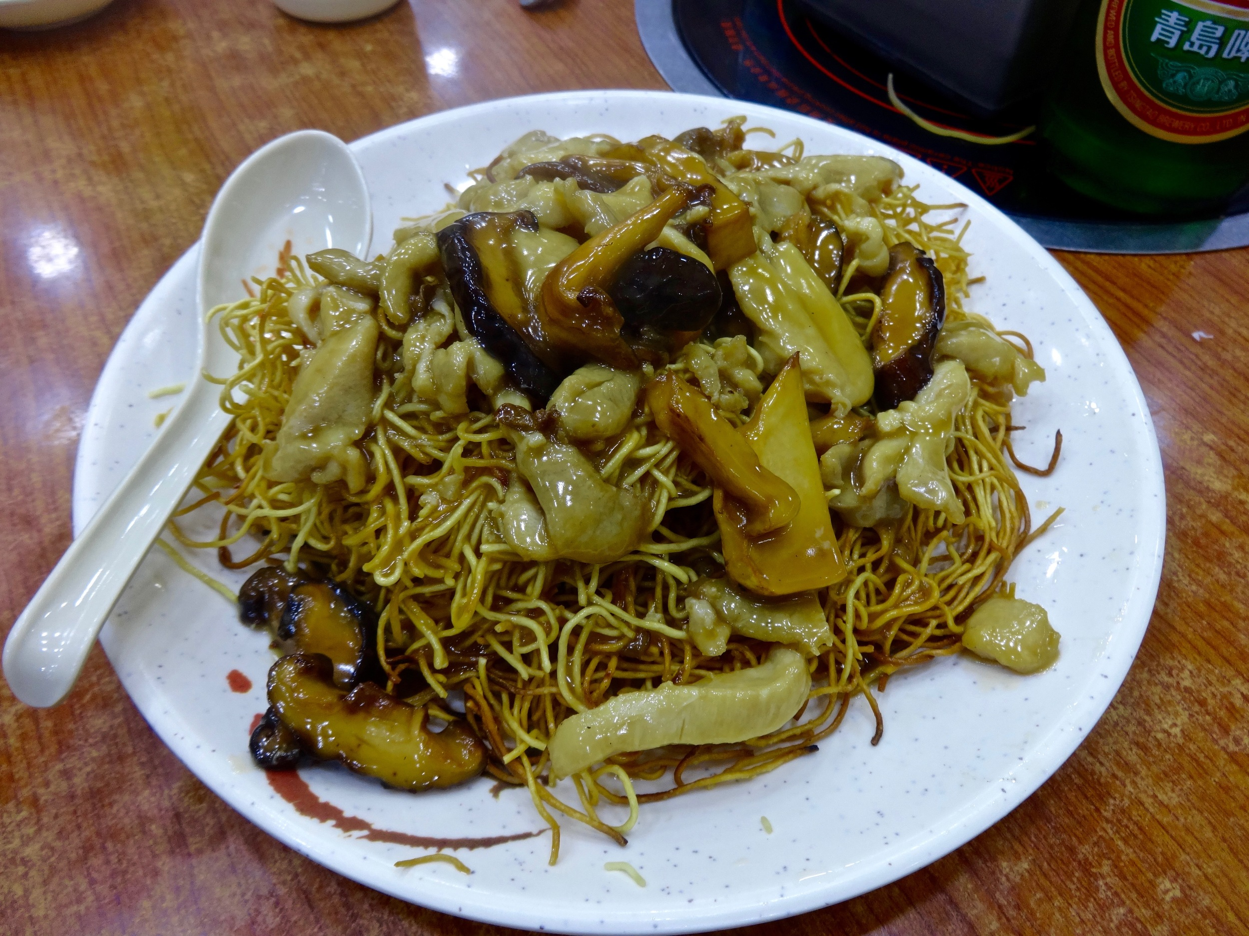 chicken and mushroom with Hong Kong style noodles