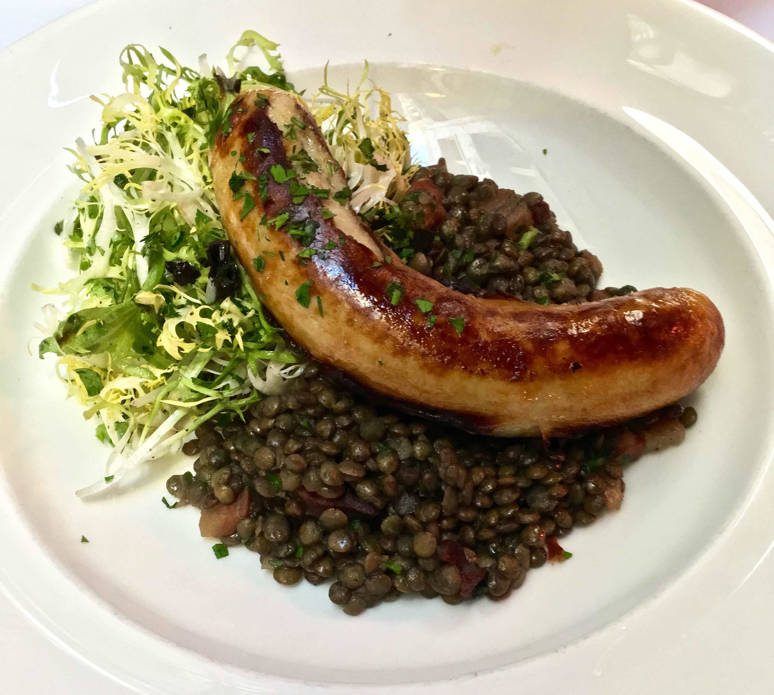 white sausage and lentils