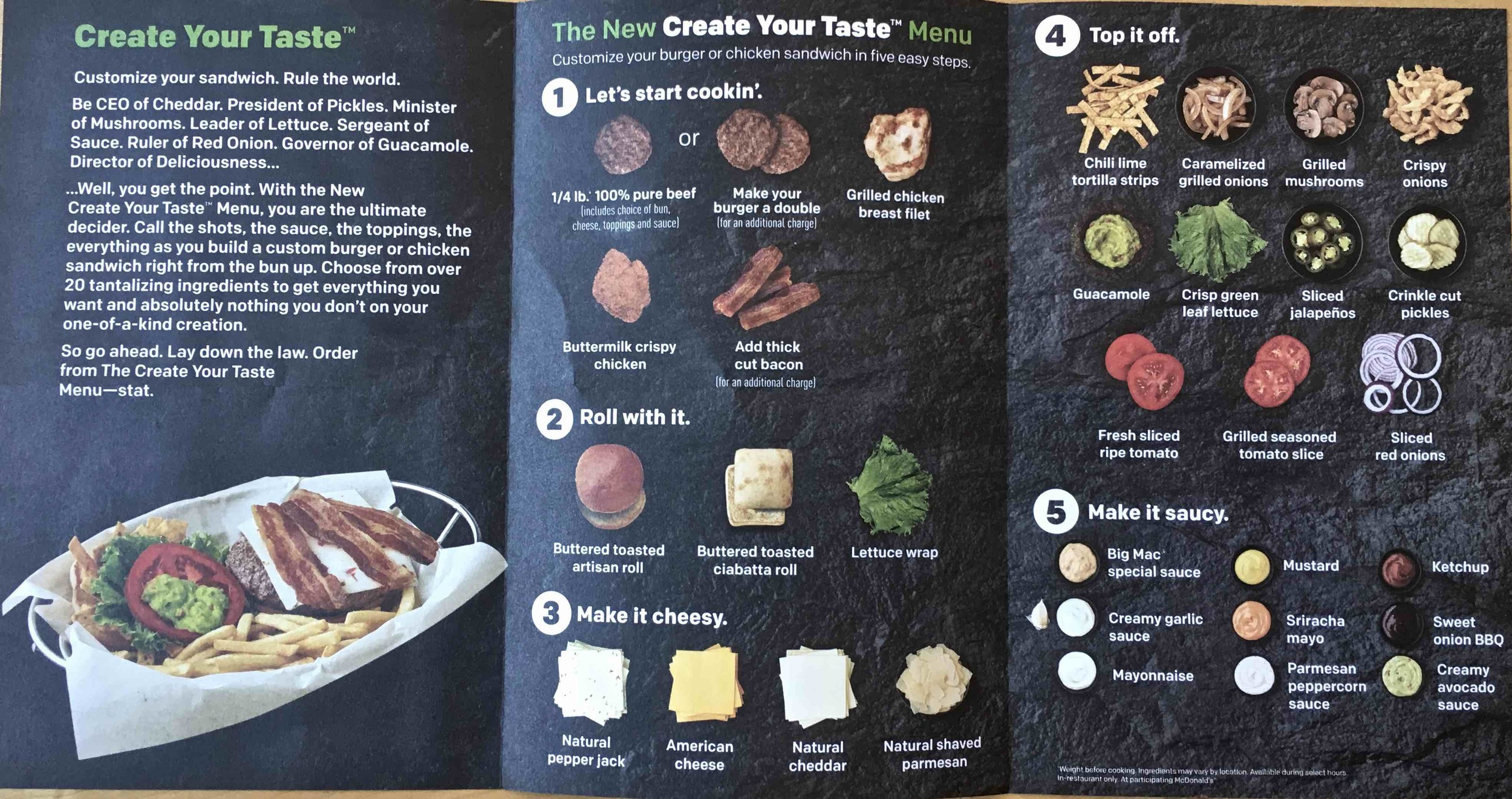 create your own menu at McCafe