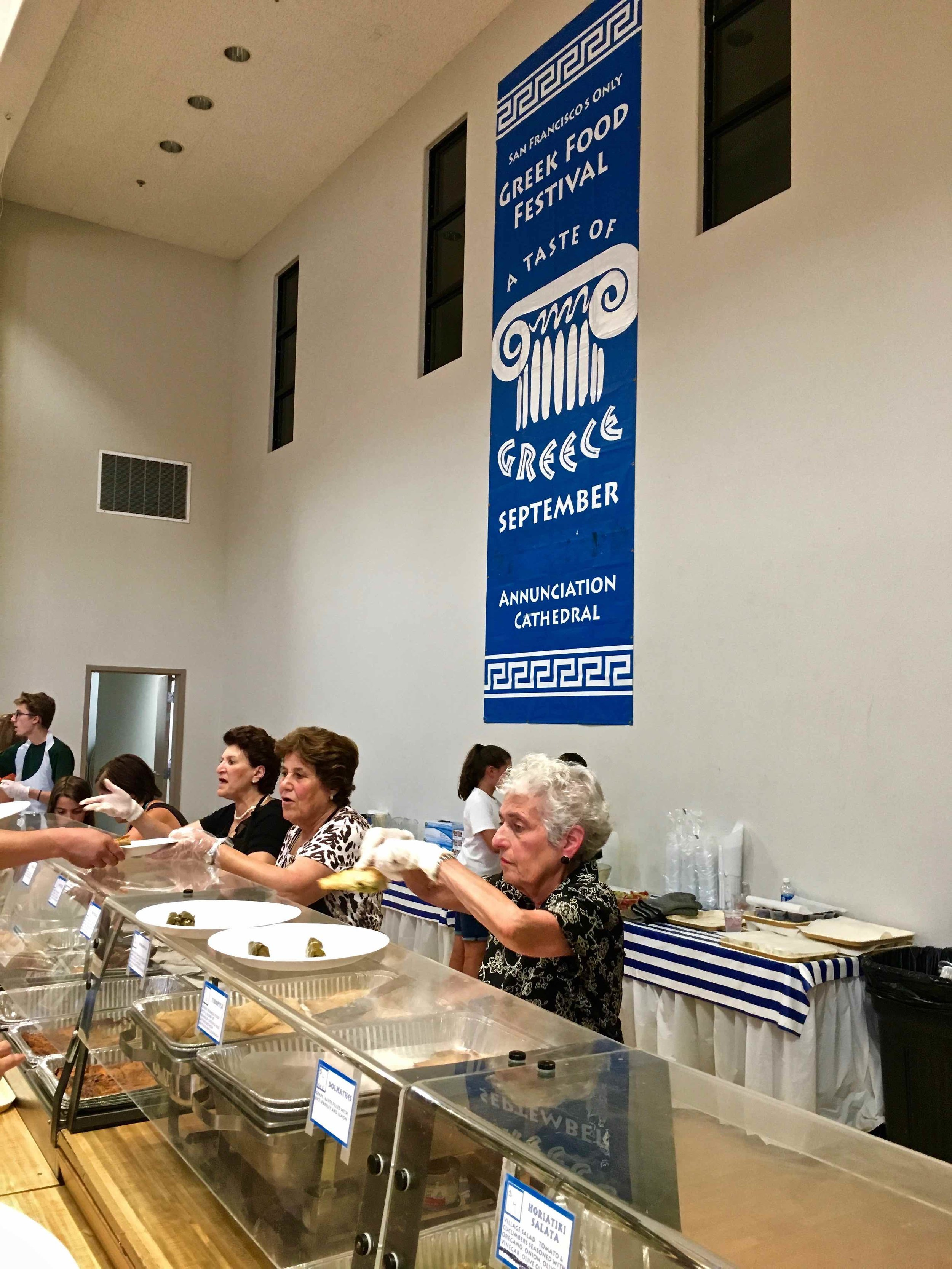 grandmas serve up the Greek food