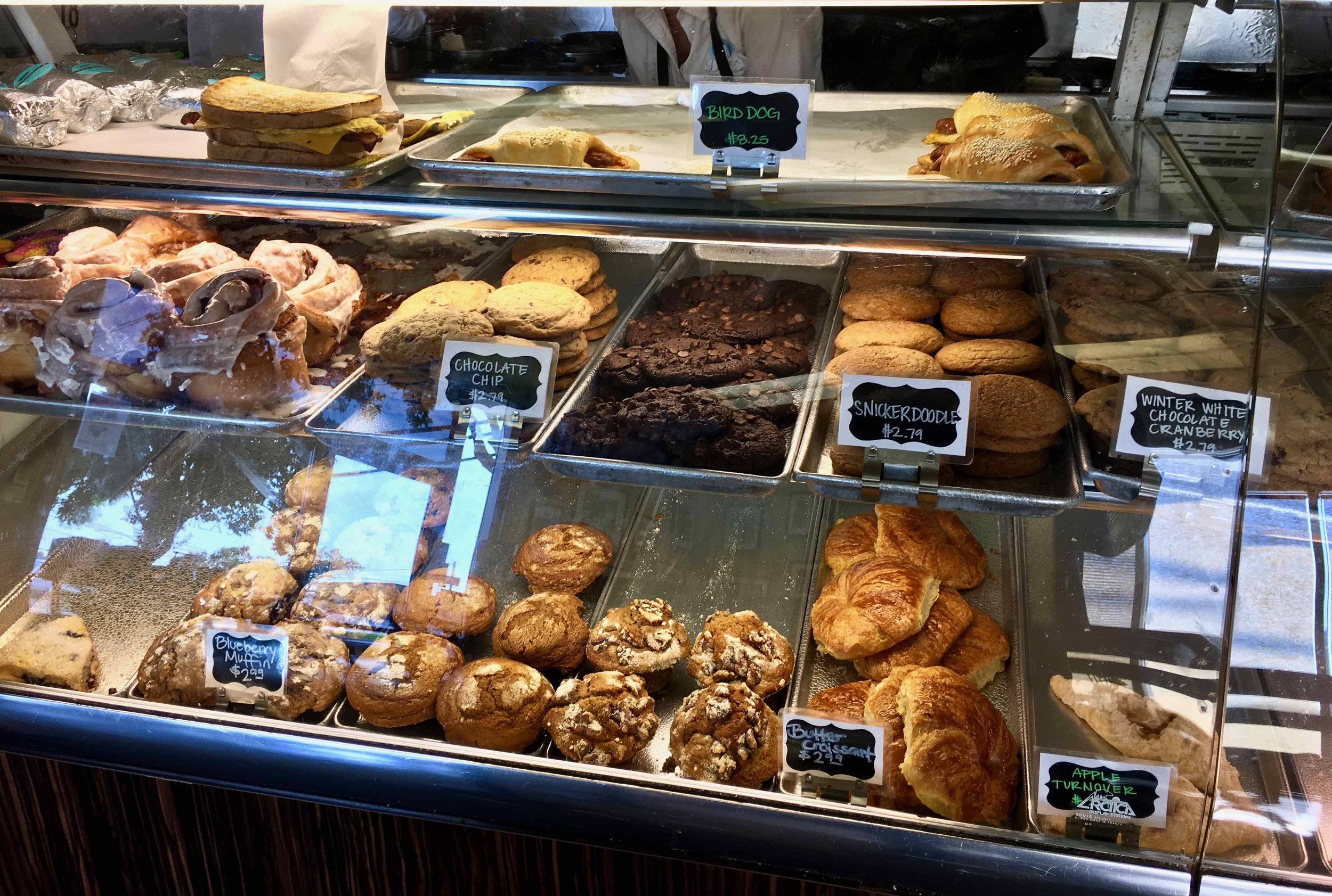 bakery case at Denica's