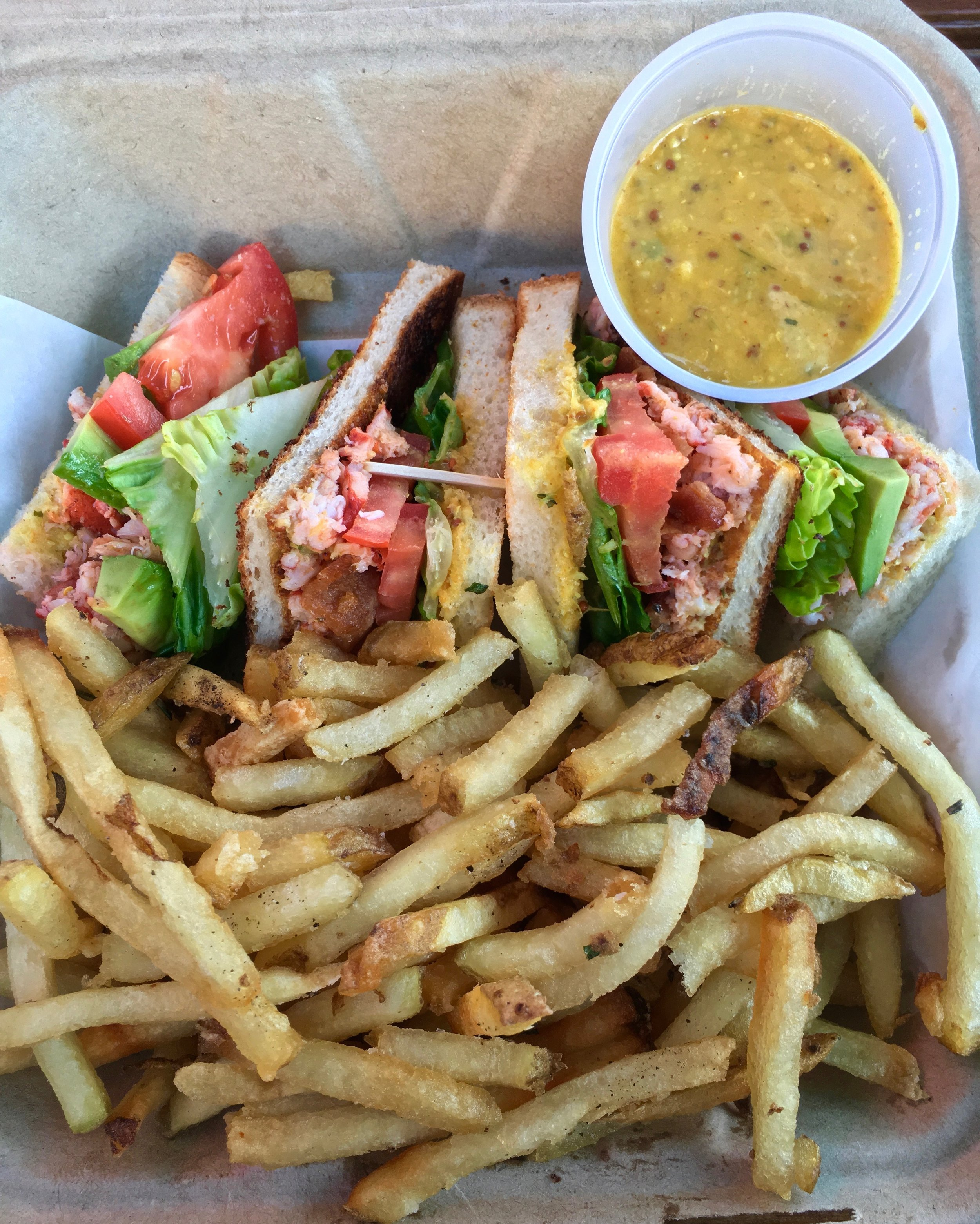 lobster club sandwich and fries
