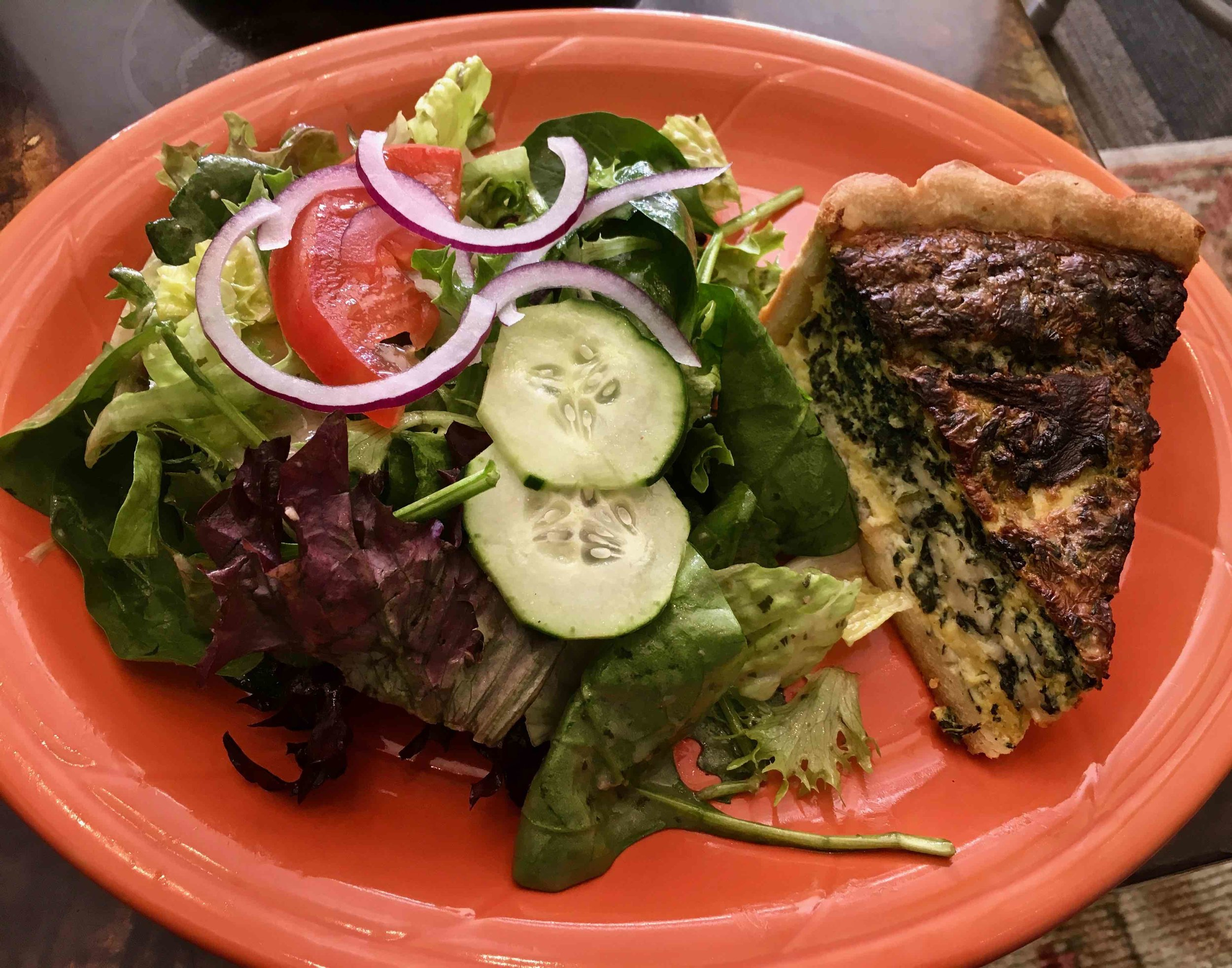 spinach quiche and salad