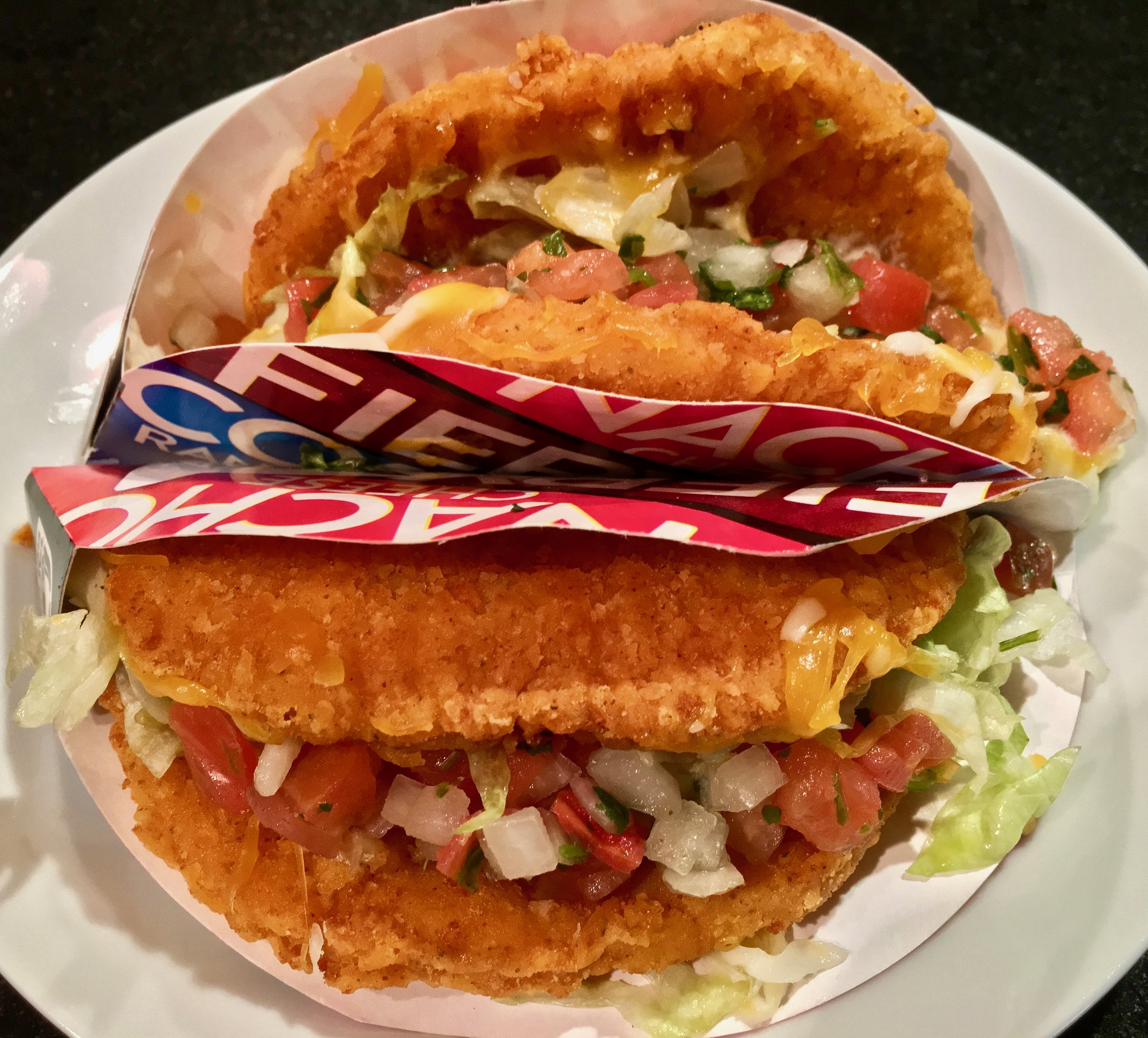 naked chicken chalupa with lettuce, tomato and cheese