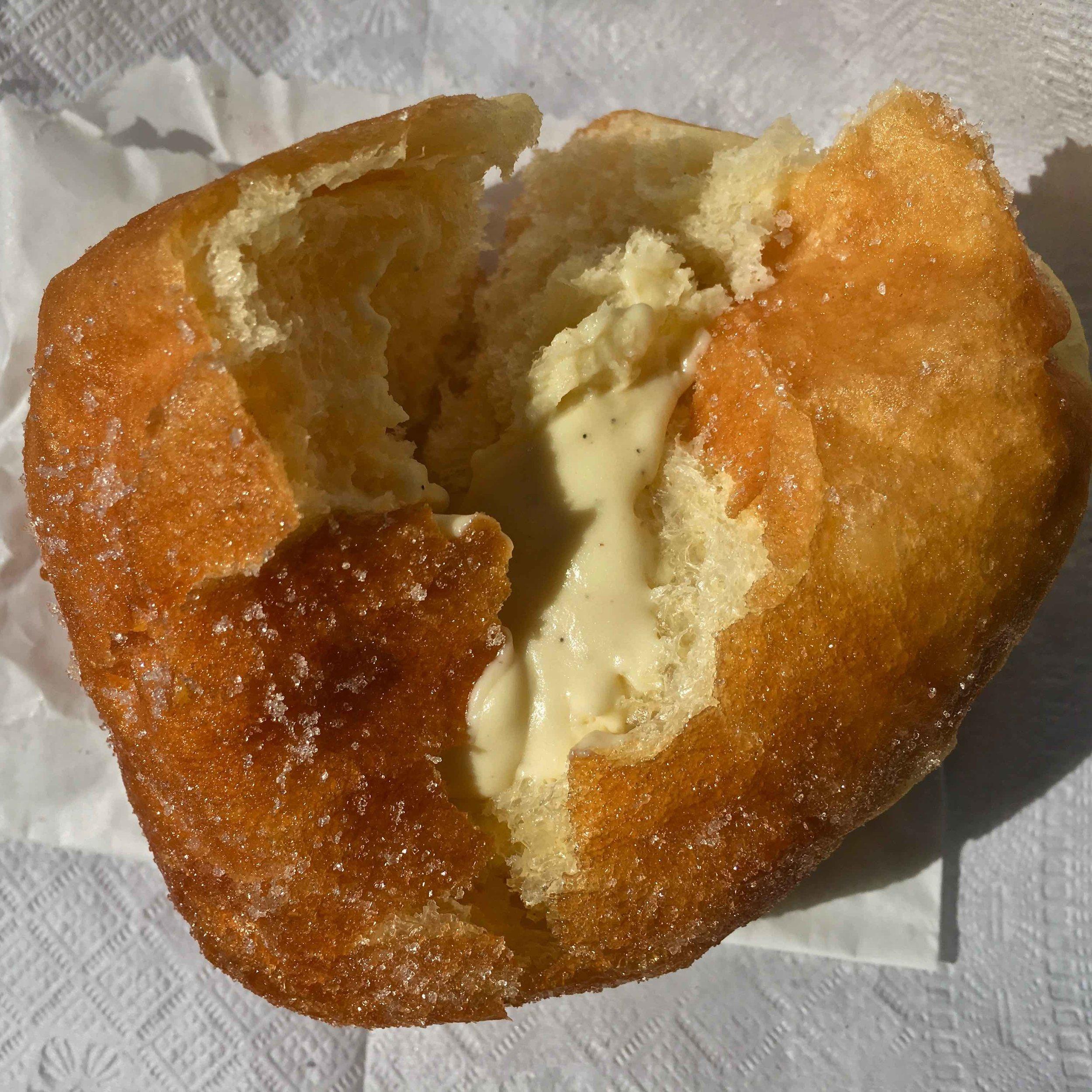 inside a sugared sazerac doughnut