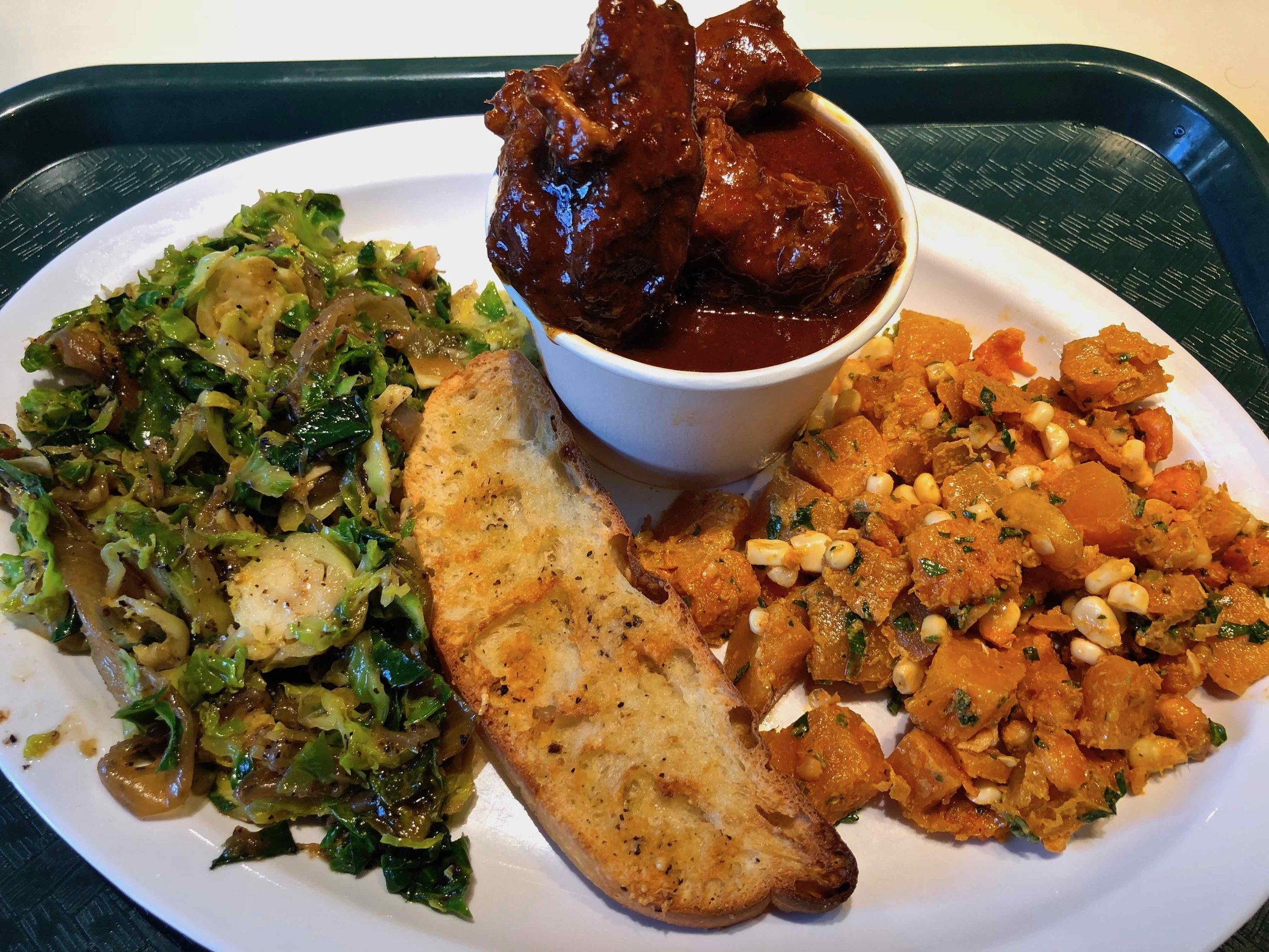 bbq brisket, brussels sprouts, squash and corn