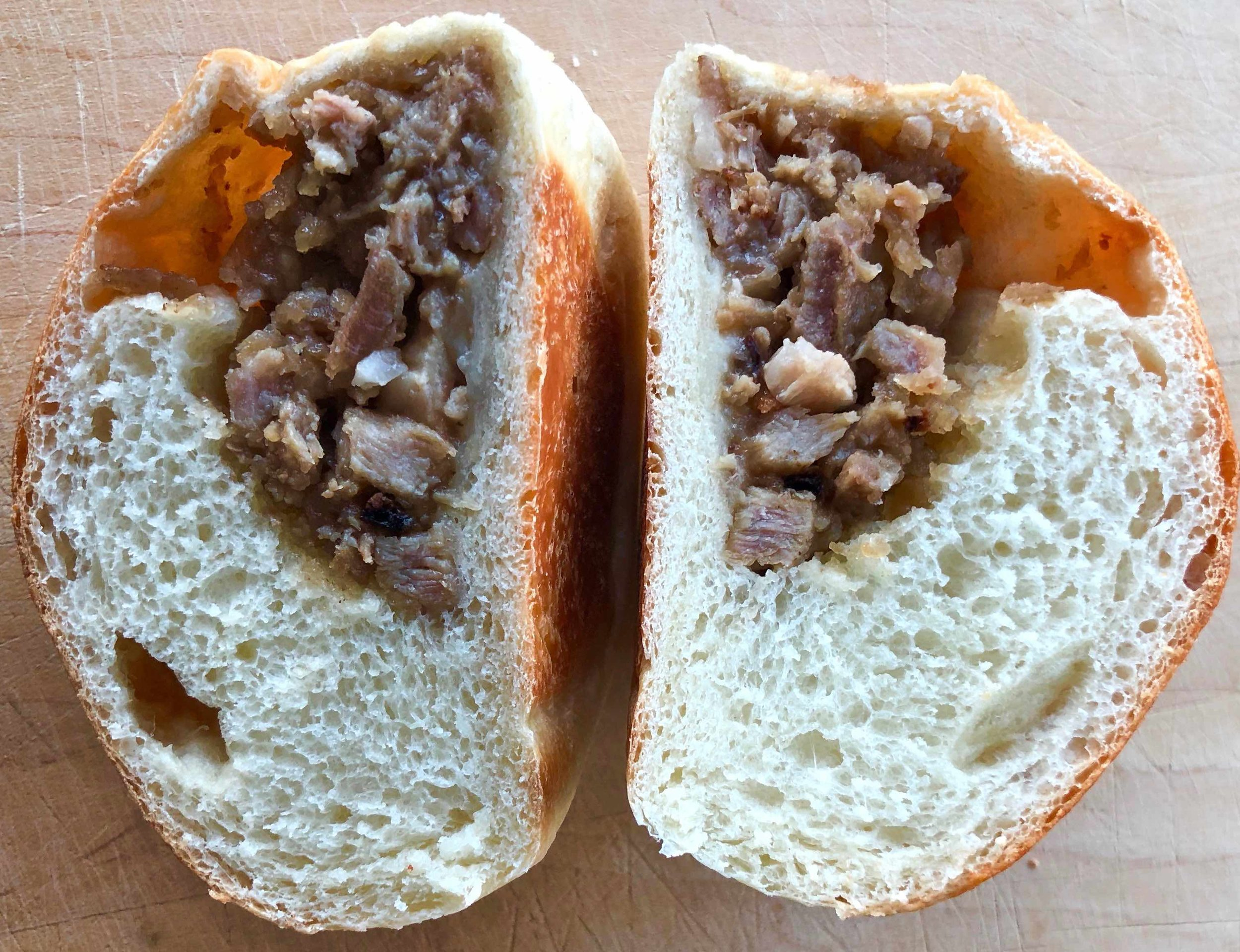 inside a baked pork bun