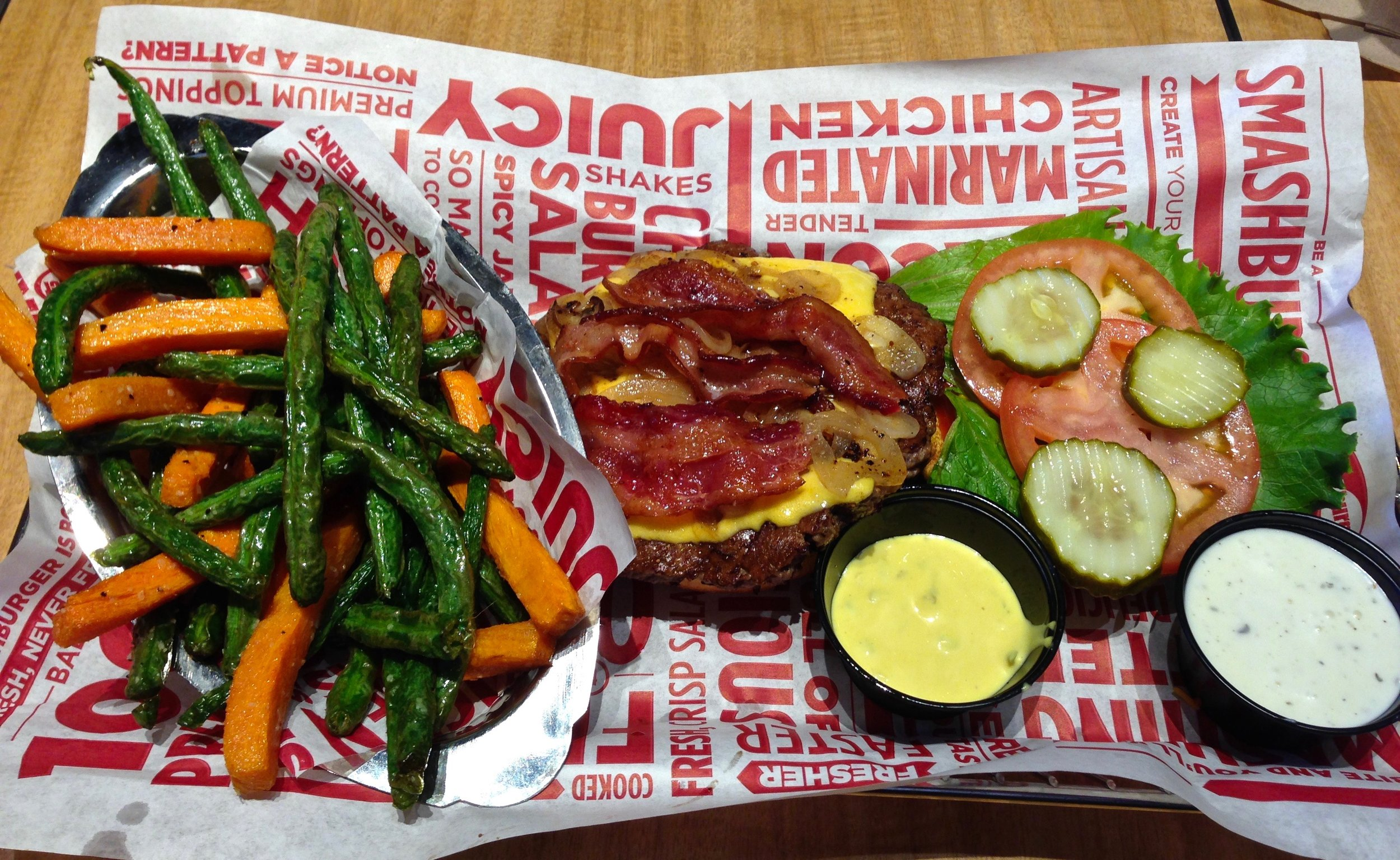 bacon cheeseburger and flash fried veggies