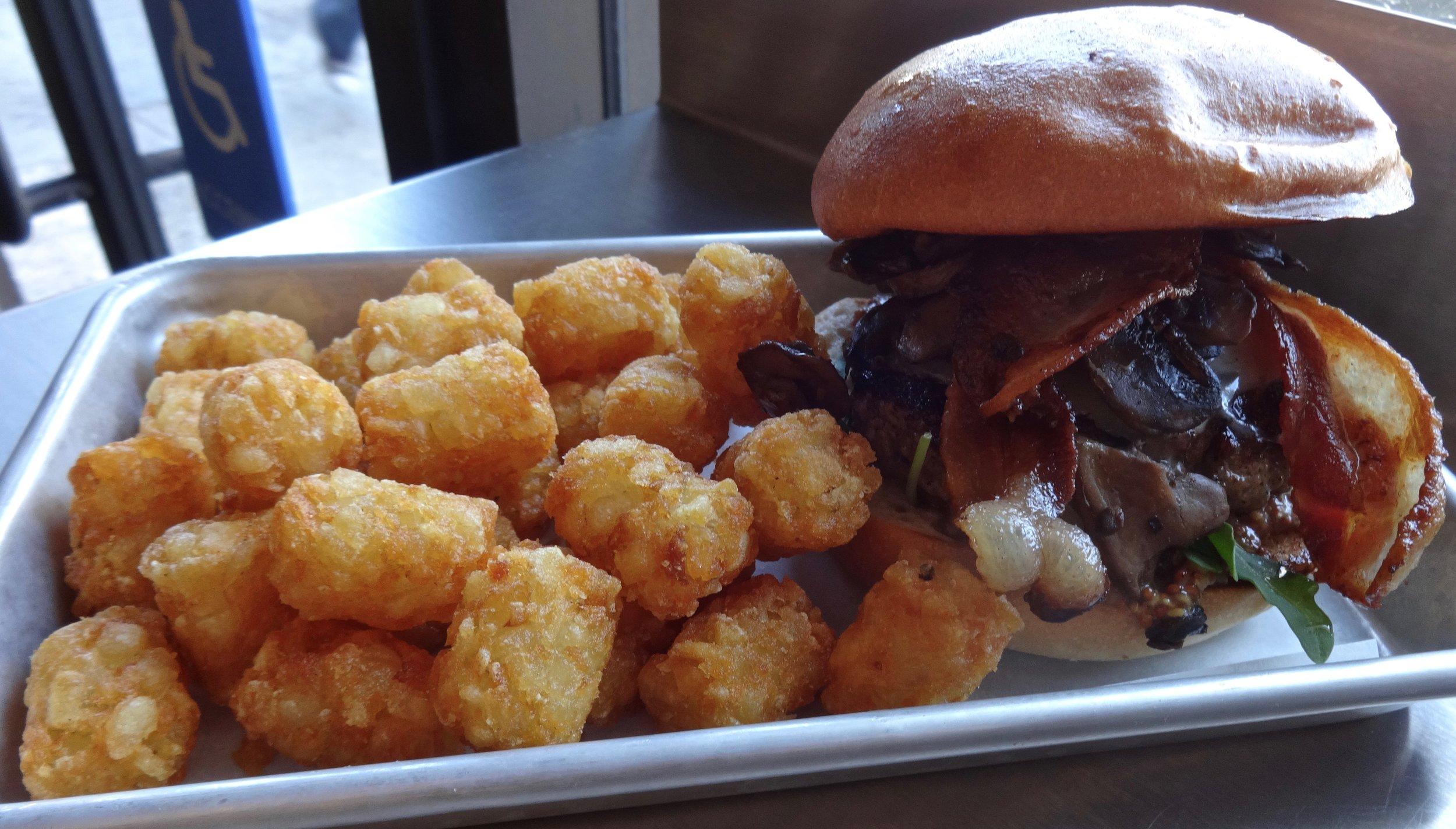 Wes Burger's bacon, mushroom cheeseburger and tater tots